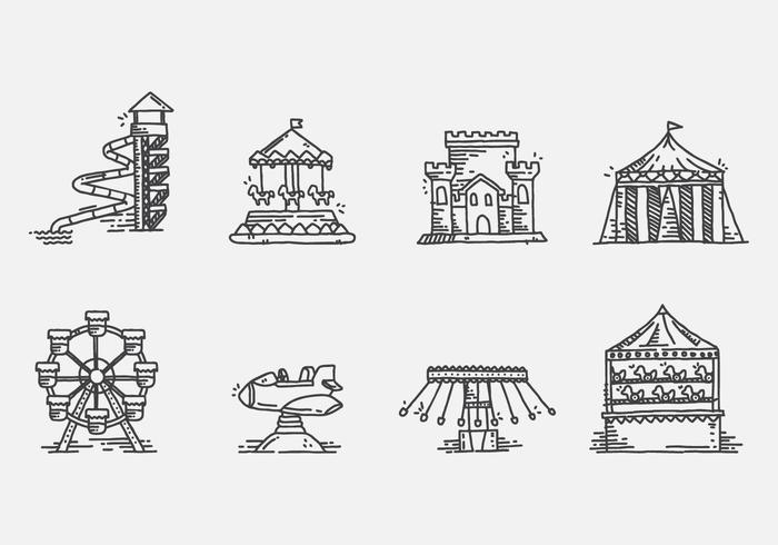 Amusement Park Ride Vector Icons