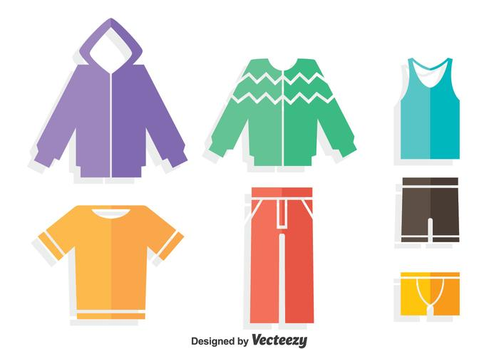 Colorful Tracksuit Flat Icons Vector