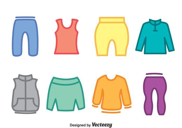 Vetor colorido dos ícones do treino