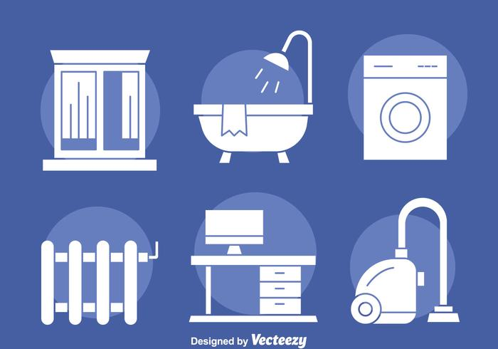 Home Appliance white Icons Vector