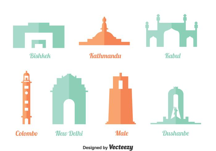 Asian Landmark Vector Set