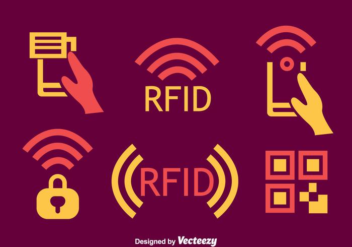 Rfid Element Icons Vector