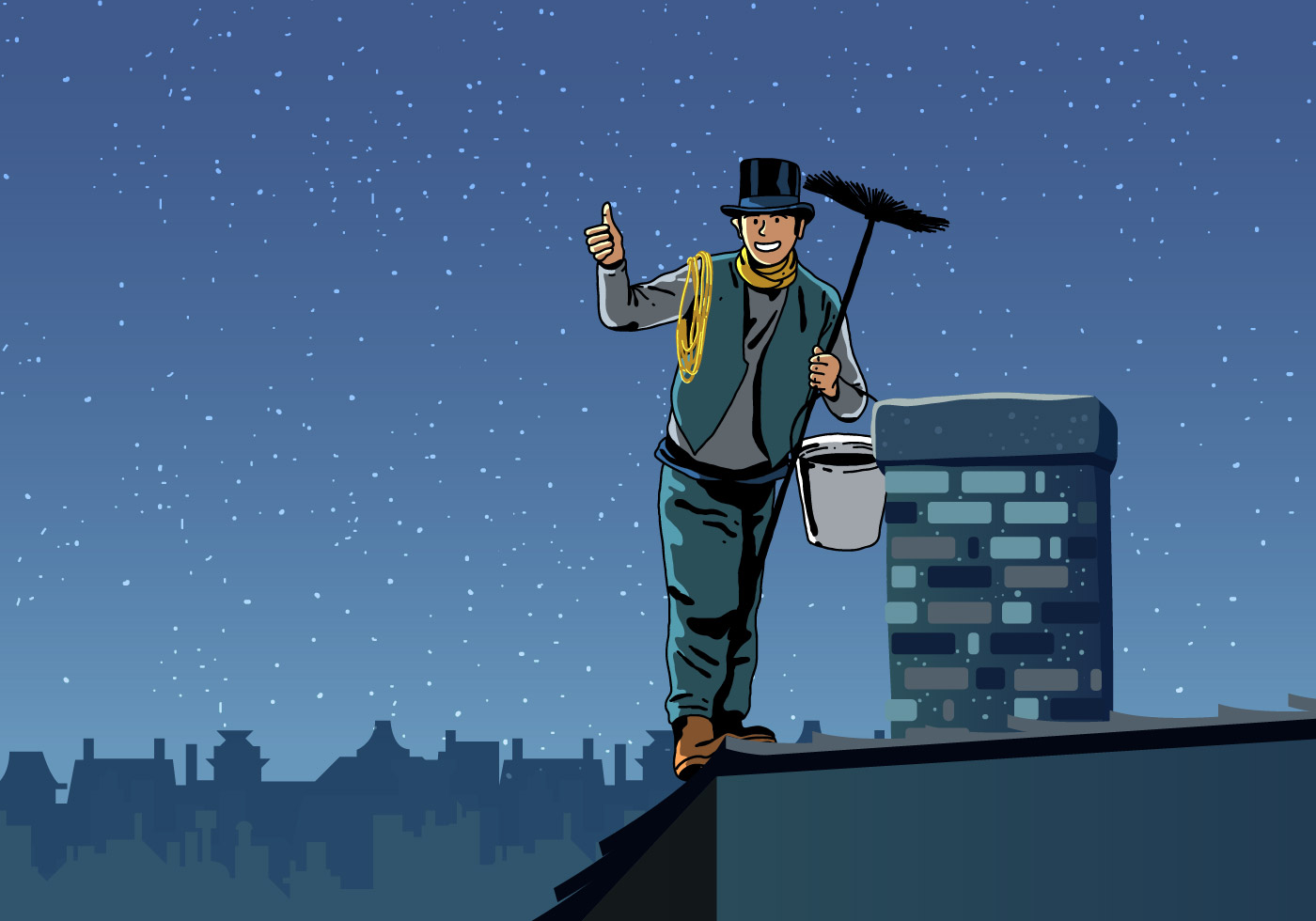 Chimney Sweep Holding Sweeper Download Free Vector Art