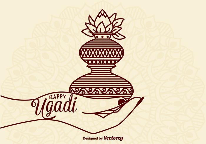 Freie glückliche Ugadi-vektorkarte