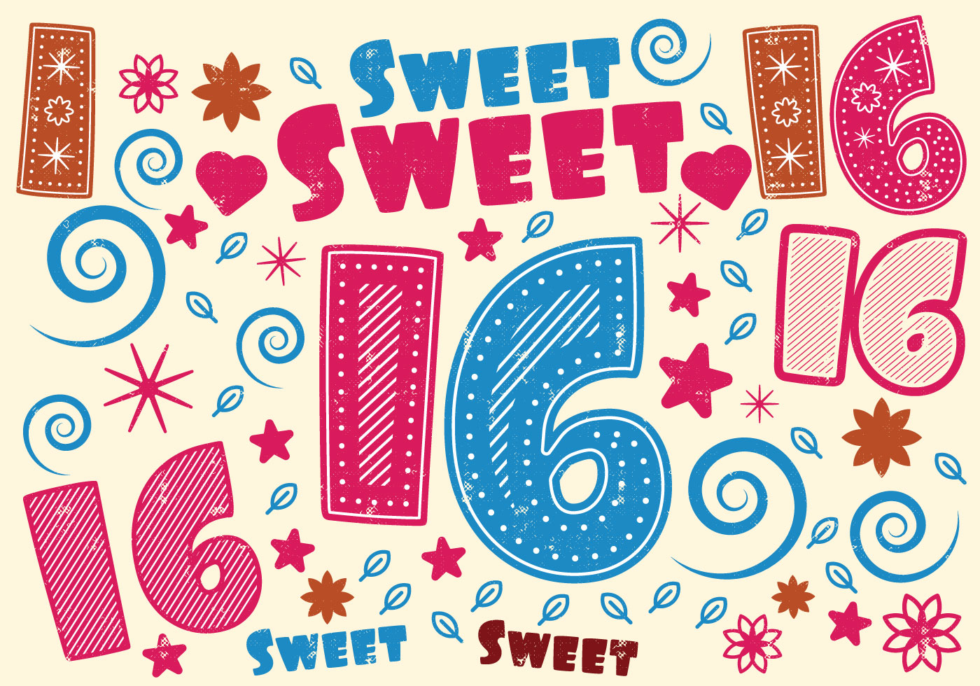 Sweet 16 Greeting Card Download Free Vector Art Stock Graphics