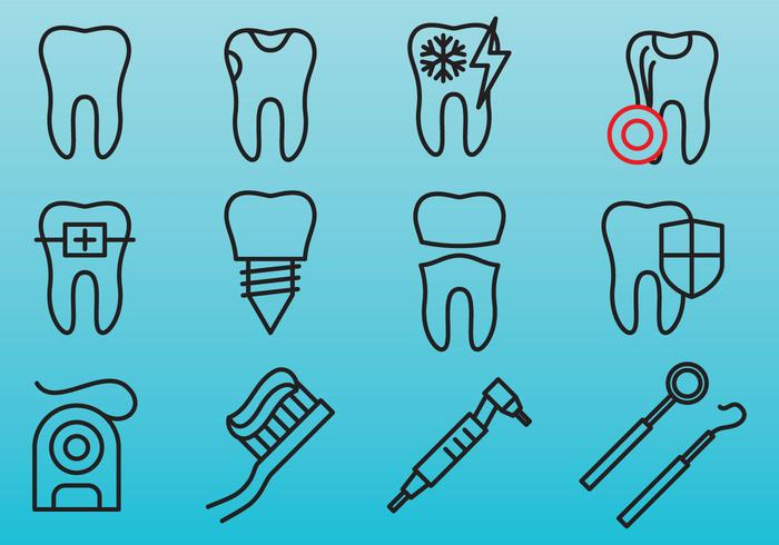 Dental Care Line Icons