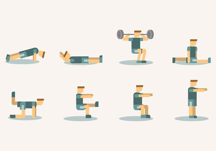 Squat and Exerices Vector Icons
