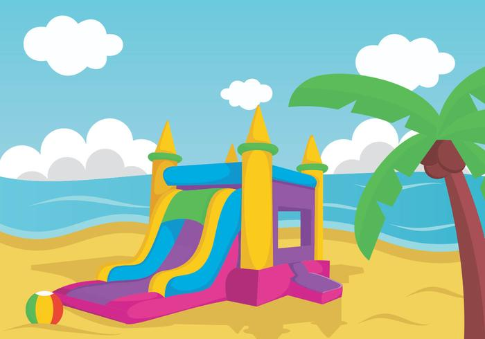 Illustration Of Bouncy Castle On Beach vector