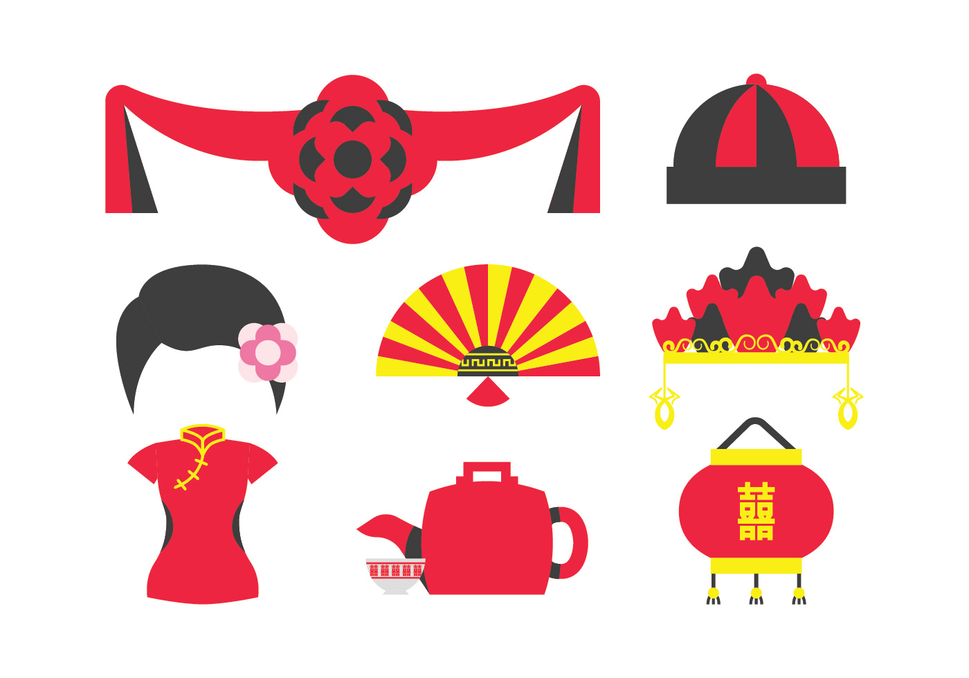 Traditional Chinese Wedding Elements - Download Free Vector Art ...
