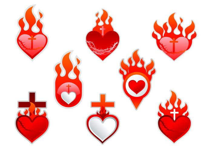 sacred heart label sticker download free vector art stock