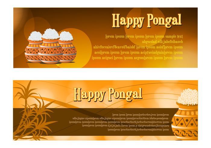 Happy Pongal Celebration Banner Vectors