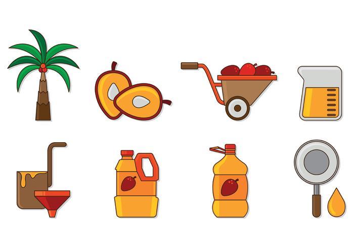 Conjunto de ícones de óleo de palma