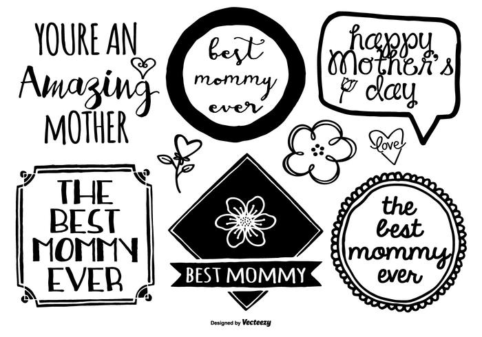 Hand Drawn Mother's Day Label Set