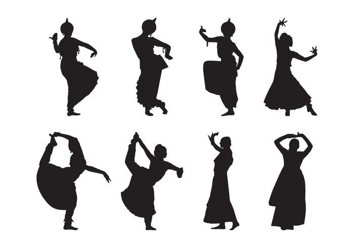 Vecteur libre de silhouette de danse indienne
