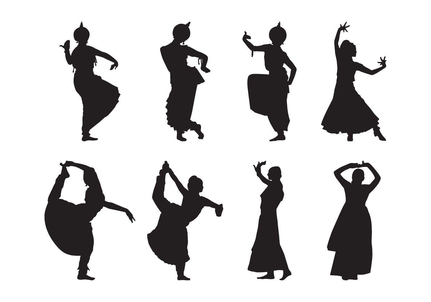 bollywood silhouette free indian dance silhouette vector ...