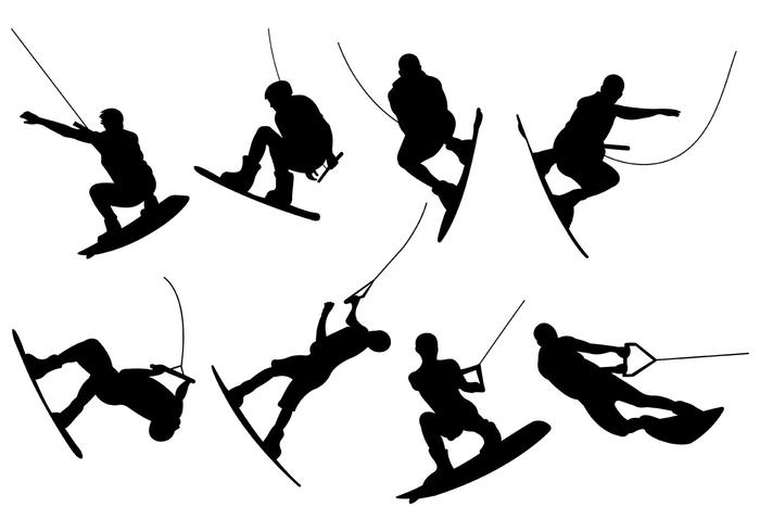 Silhouettes Of Wakeboarding Vectors