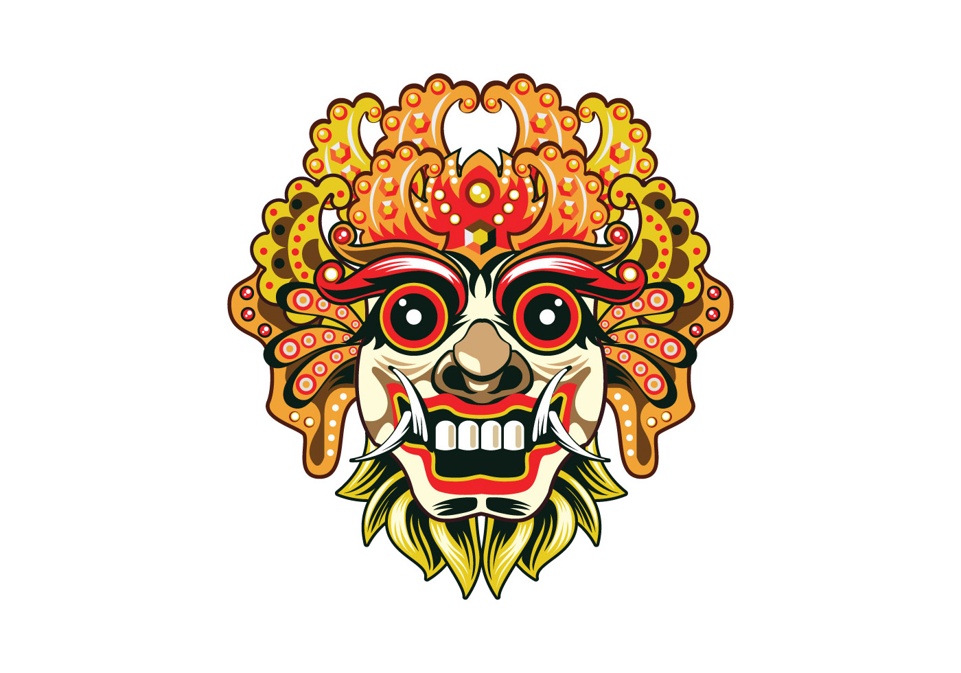 Free Download Png And Vector: Detailed Barong Mask Vector