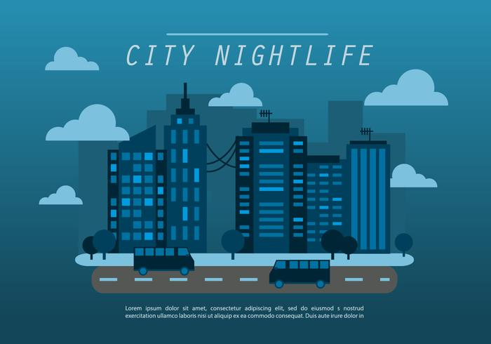 Fundo azul da meia-noite do vetor da paisagem urbana