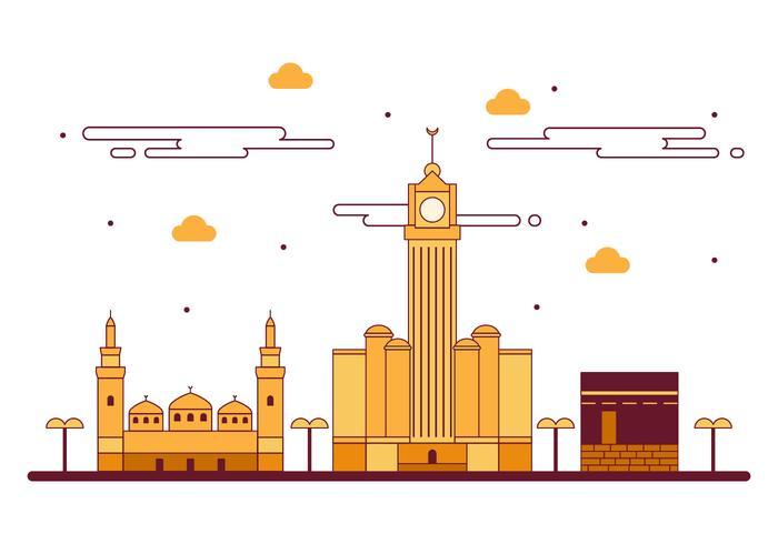 Free Kaaba in Makkah Vector Illustration
