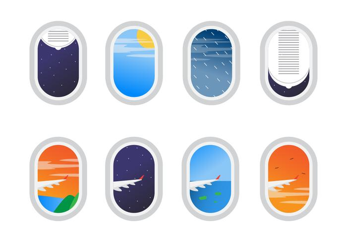 Free Set of Plane Window View Vector
