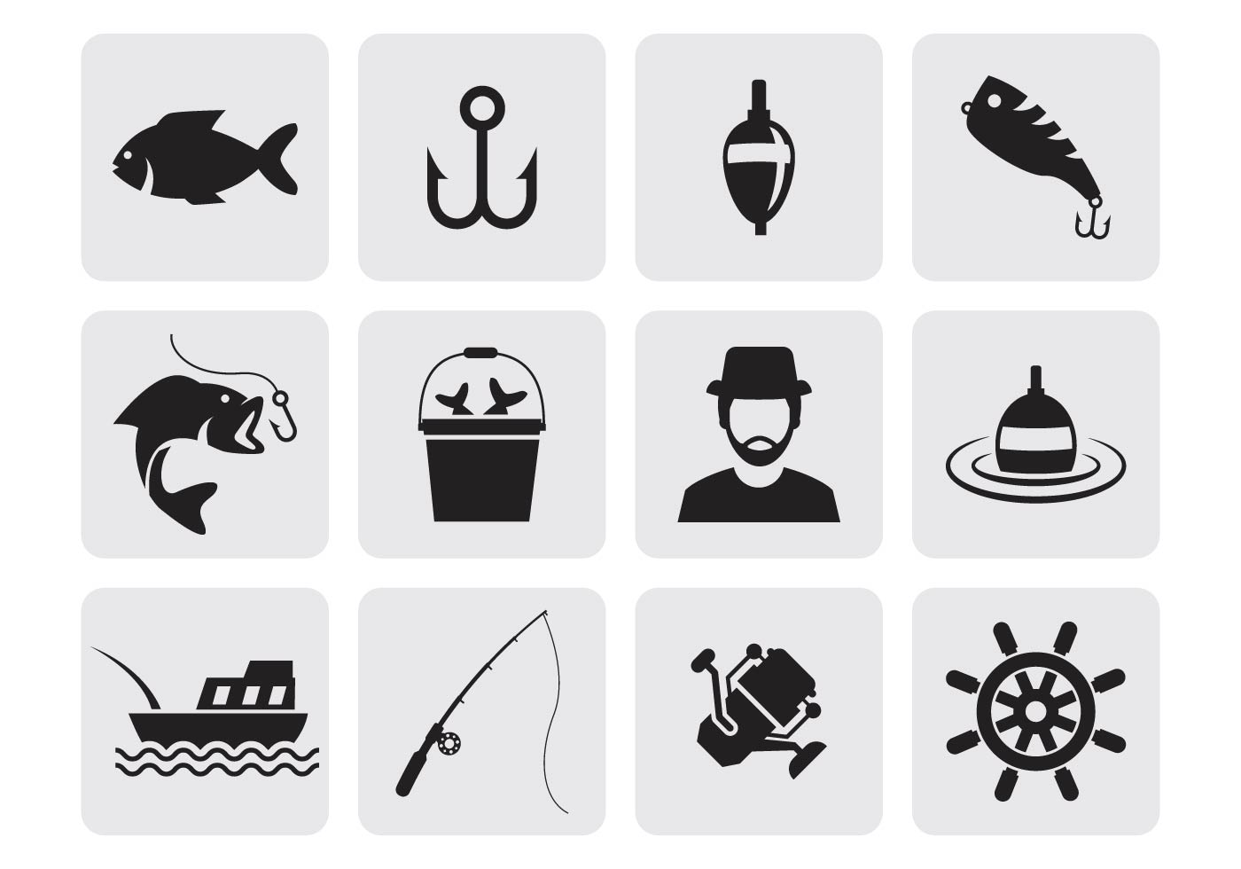 Free fishing icons vector download free vector art for Free line fishing