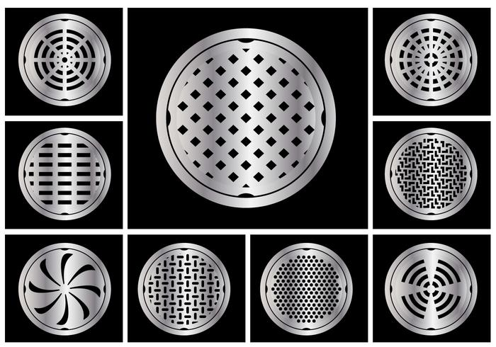 Manhole cover circle vector set