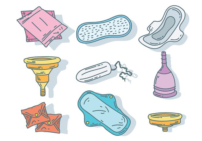Vector de ícones de higiene Feminie
