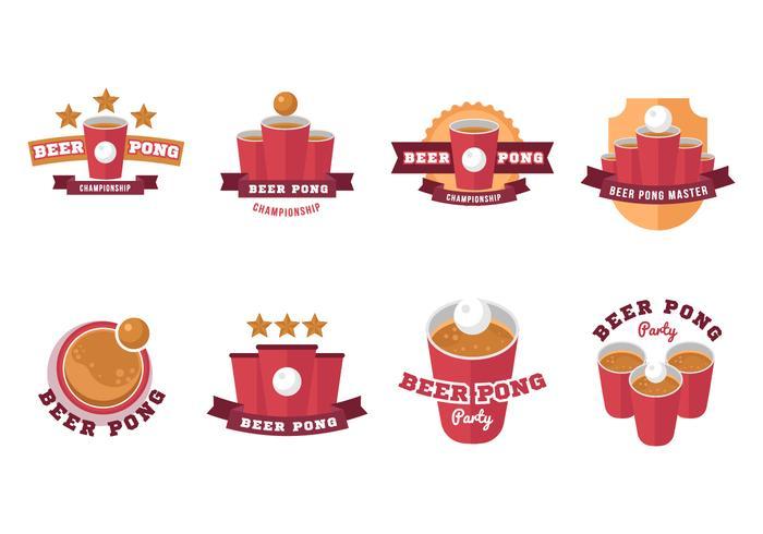 Beer Pong Labels Badge Vector