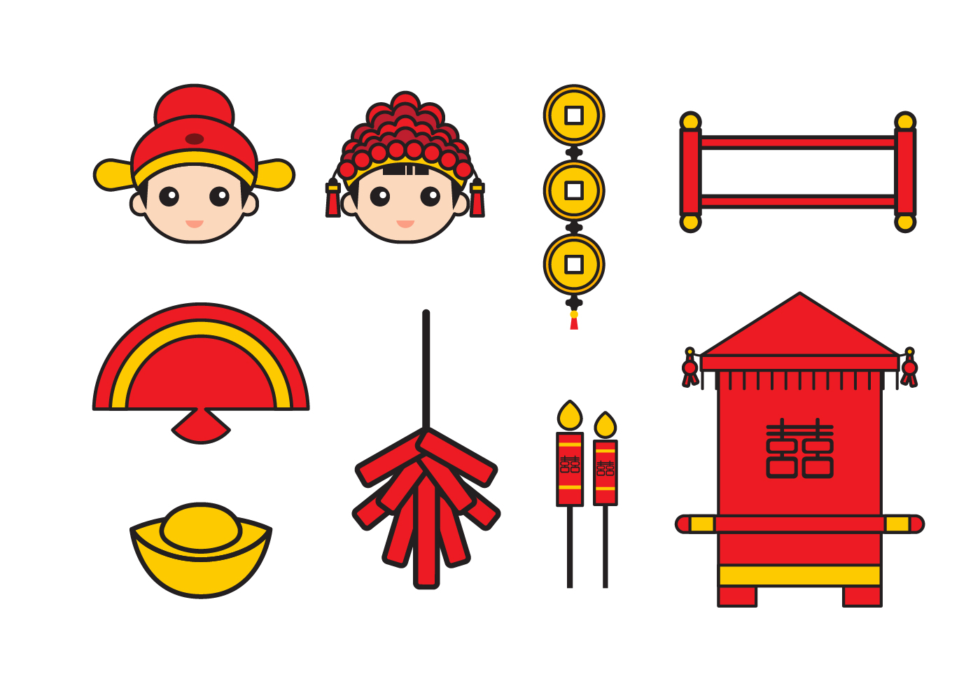 Free chinese wedding vector icons download free vector for Chinese vector