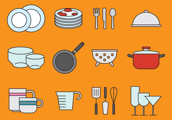 Cute Crockery And Kitchen Icons