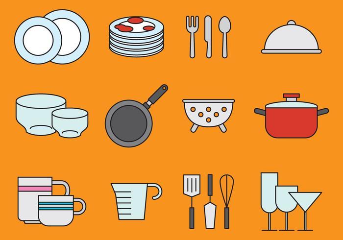 Petite vaisselle et icônes de cuisine