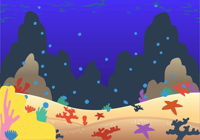 Seabad coral cartoon vector