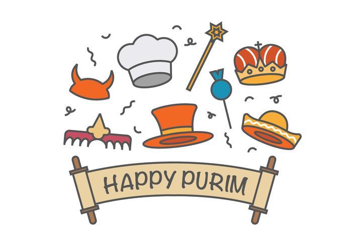 Happy purim vector icons