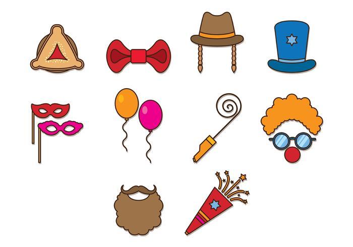 Set Of Purim Celebration Icons
