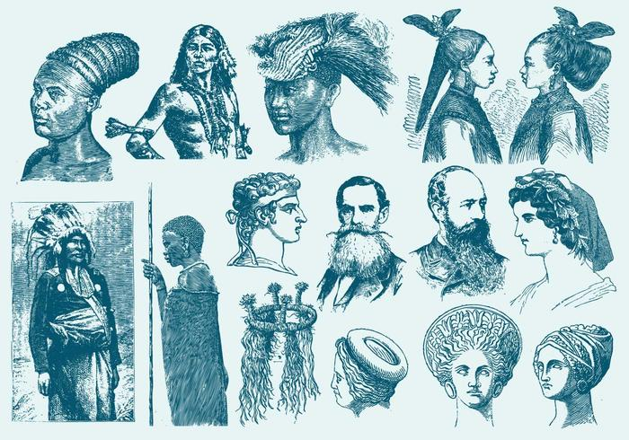 Blue Hairstyles And Headdress Illustrations