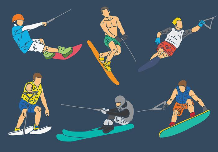 Free Water Skiing Icons Vector