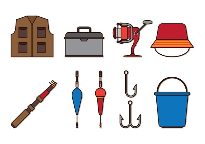 Set Of Fly Fishing Icons