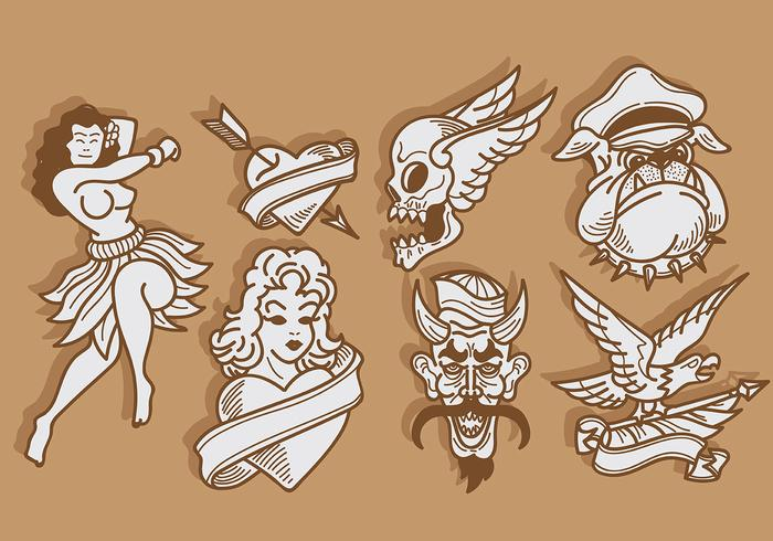 Old School Tattoo Icons Vector