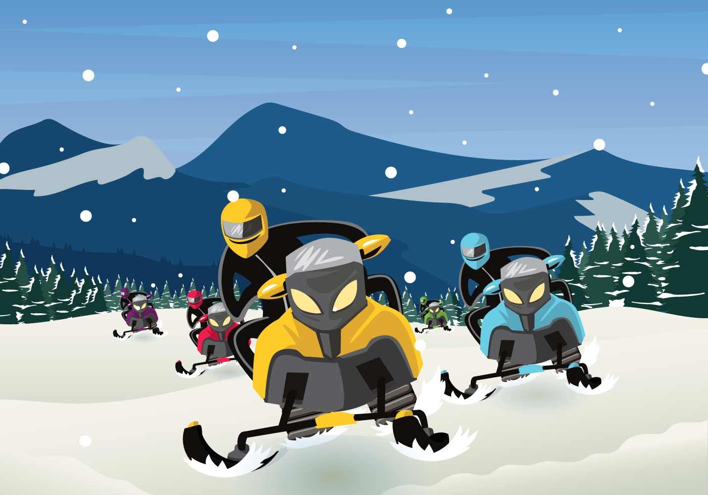 Free Snowmobile Illustration - Download Free Vector Art ...