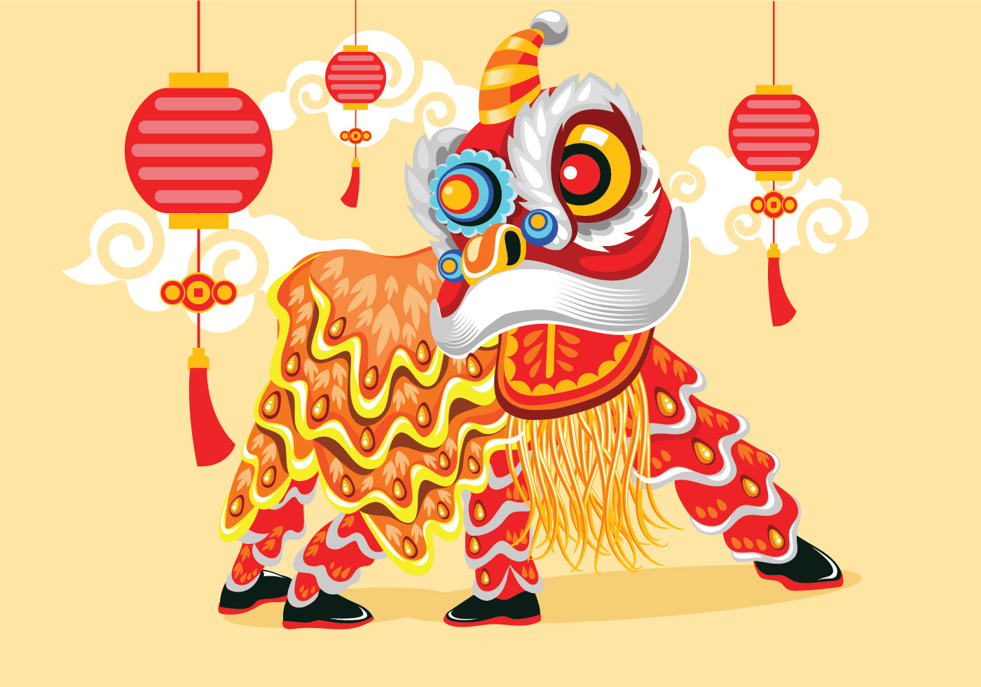 Vector illustration traditional chinese lion dance for Chinese vector