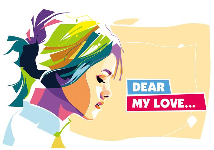 Dear My Love Vector Portrait