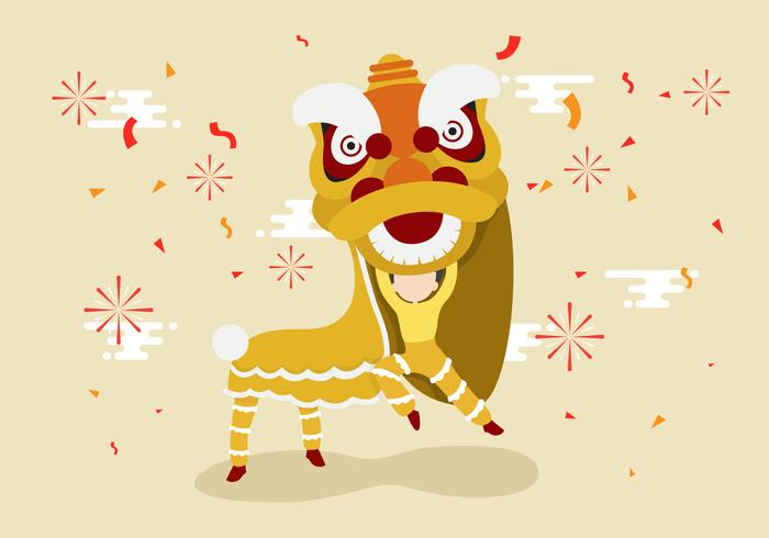 Free Lion Dance Vector Illustration