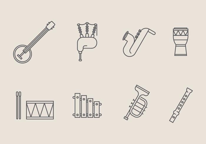 Vecteurs d'icônes d'instruments de musique