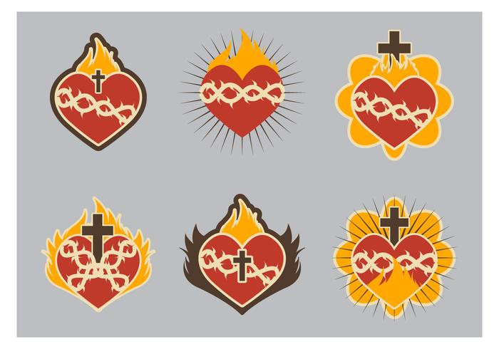 Sacred heart icon flat cute