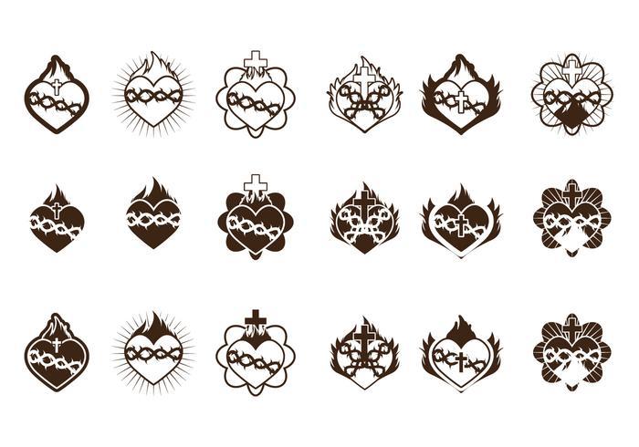 Collection de l'icône du coeur sacré