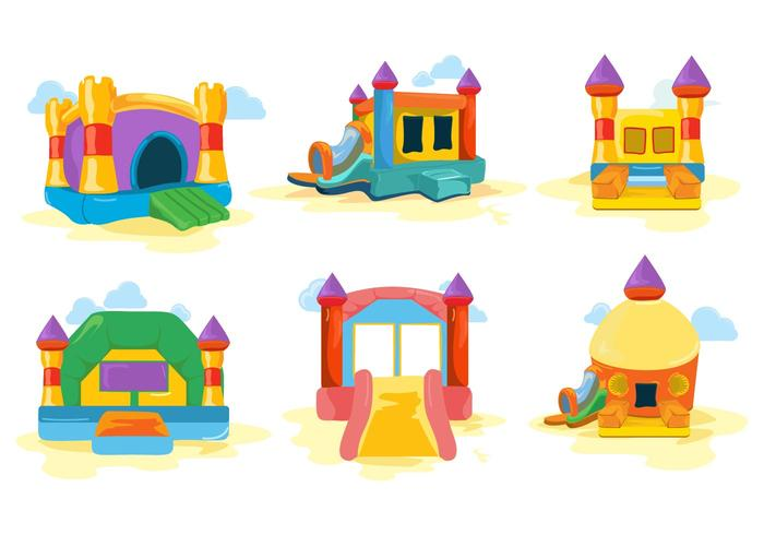 Free Colorfull Bounce House and Castle Vector