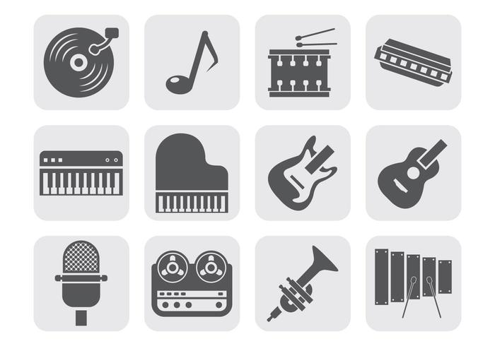 Music Instrument Equipment Icons Vector
