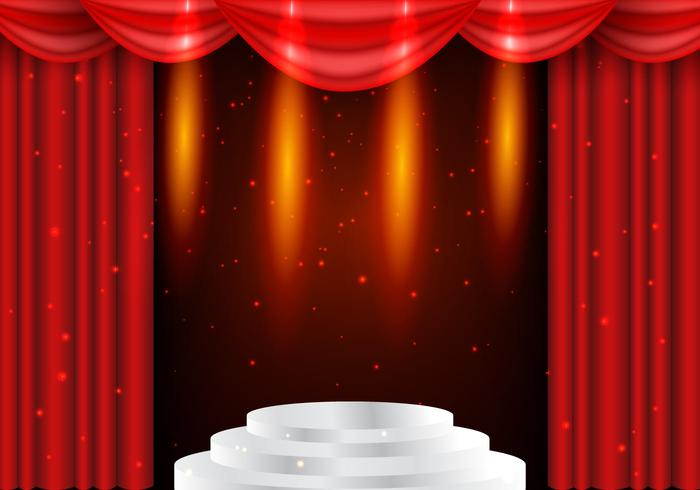 Theater Red Curtains With Lightning Background