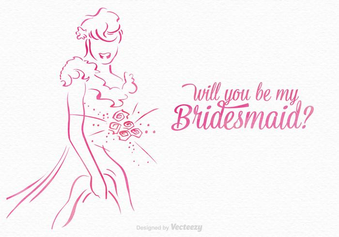 Free Will You Be My Bridesmaid Vector