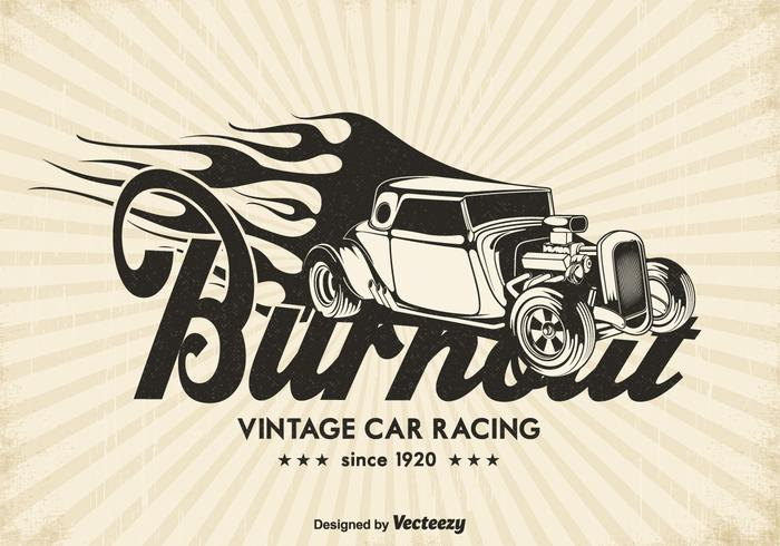 Vintage Race Car Burnout Vector Background